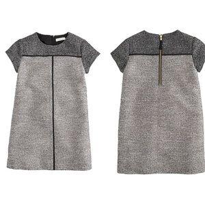 J.Crew Girls' shift Dress in Silver Twinkle Tweed